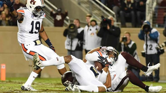 Carlton Davis (18) makes an interception in the end zone. Auburn at Texas A&M in College Station, Texas. on Saturday, Nov. 7, 2015.