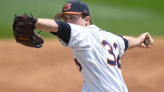 Auburn freshman Casey Mize tosses 6 1/3 innings of relief Saturday in the Tigers 7-6 victory over Tennessee on April 16, 2016.