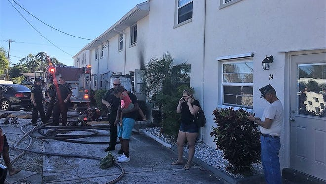Brevard County firefighters responded to reports of an apartment on fire Saturday afternoon at Hampton Court apartments in Merritt Island. Onechild suffered injuries and was airlifted to a trauma center.