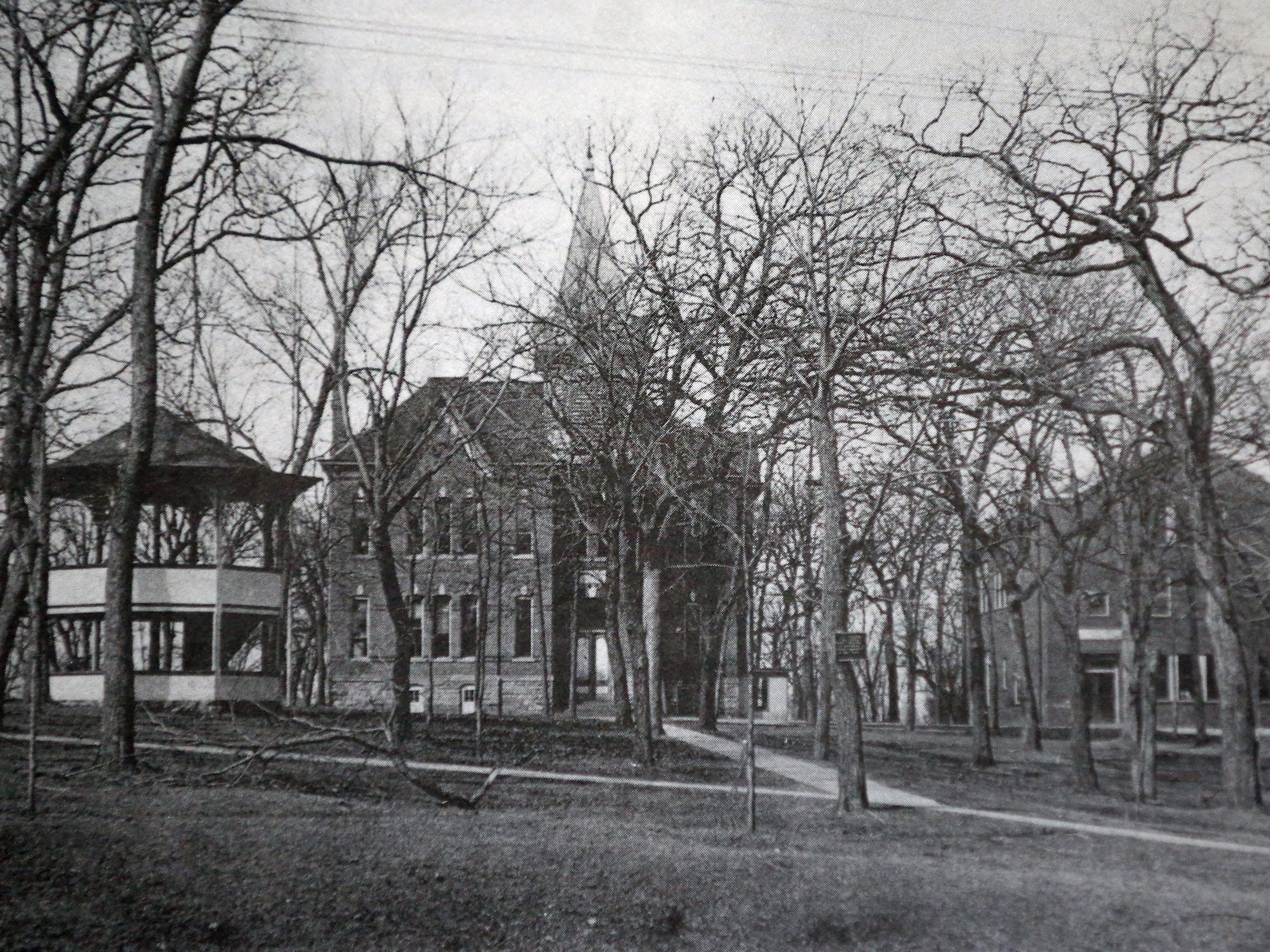 The old Springville School (center), built in 1882, demolished 1938. Shwabb Hall to the right.
