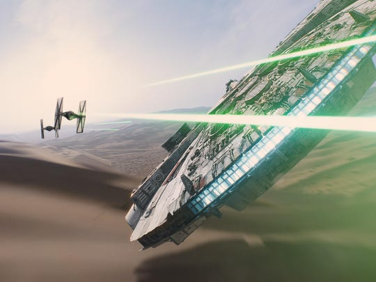 "The Millennium Falcon returns in ""Star Wars: The Force Awakens."""