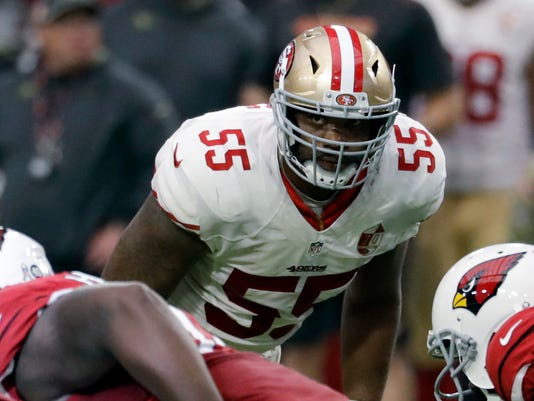 FILE - In this Nov. 13, 2016, file photo, San Francisco 49ers outside linebacker Ahmad Brooks (55) prepares for a play during the team's NFL football game against the Arizona Cardinals in Glendale, Ariz. The Green Bay Packers are hoping veteran linebacker Brooks, who took part in his first practice with his new team Monday, Sept. 4, 2017, will improve depth on the edge beyond starters Clay Matthews and Nick Perry. (AP Photo/Rick Scuteri, File)