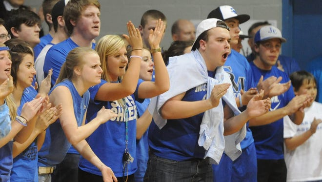 Smoky Mountain fans cheer on the Mustangs boys basketball team during a 2-A sectional championship game on Feb. 28.
