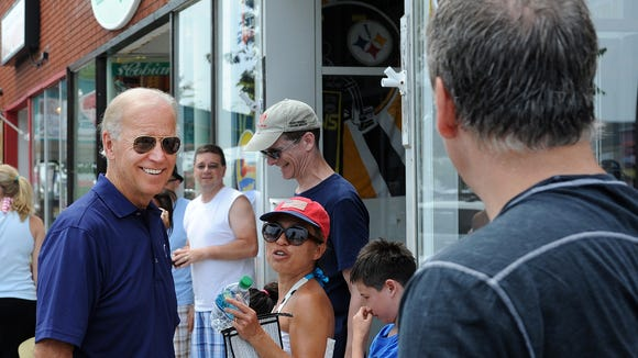 Shown here in July 2012, Vice President Joe Biden walked the streets of Rehoboth Beach on Thursday shaking hands and greeting people on Rehoboth Avenue as his wife Jill signed copies of her new book at Browseabout Books in Rehoboth Beach.