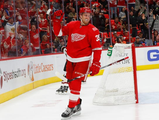 Red Wings forward Anthony Mantha (39) celebrates his