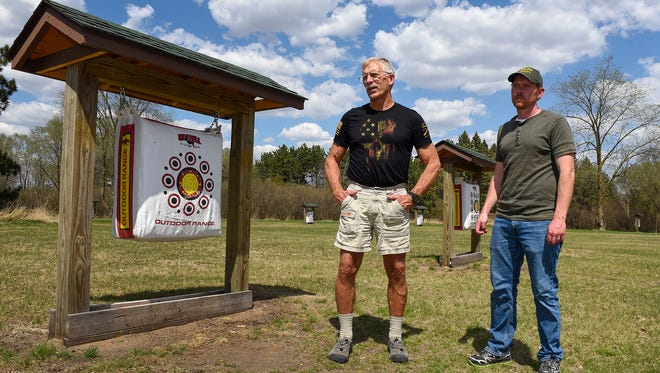 Don Primley, president of the T.H.E Great River Archery Club, and Ben Anderson, director of Stearns County Parks Department, talk about the plans for an indoor archery range Monday, May 7, at Mississippi County Park near Rice.