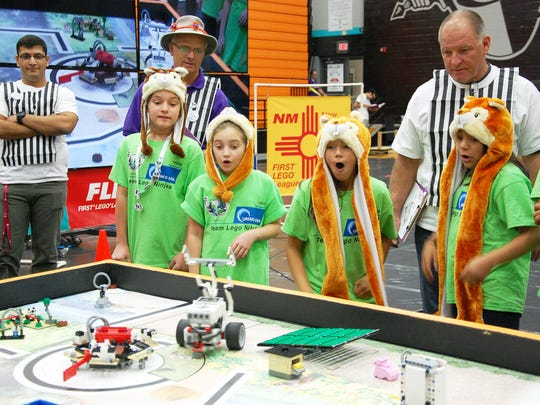 The Lego Ninjas, from Hobbs, NM, participate in the First Lego League qualifier, which took place Nov. 19, in Las Cruces.