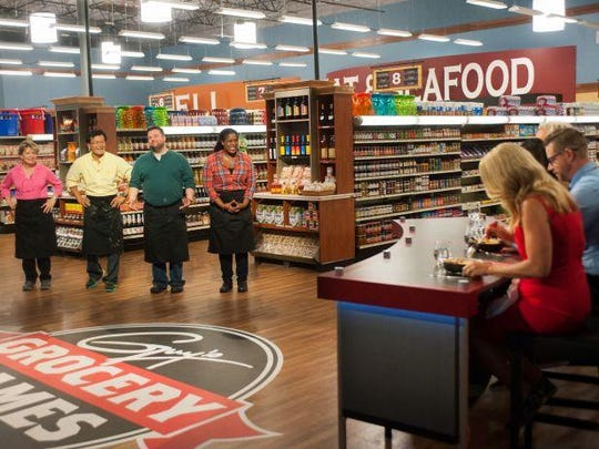 "Newark chef Robbie Jester (in green shirt) made it to the ""Redemption Tournament"" finale of ""Guy's Grocery Games"" on the Food Network. The episode aired in April."