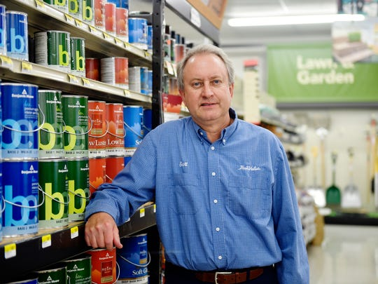 Scott Hittie, co-owner of True Value Plus hardware store in Shrewsbury Township, stands for a portrait inside the store. Hittie said he is optimistic about the economic impact of the new, 57,000-square-foot Johnson Controls facility across the road from his store.