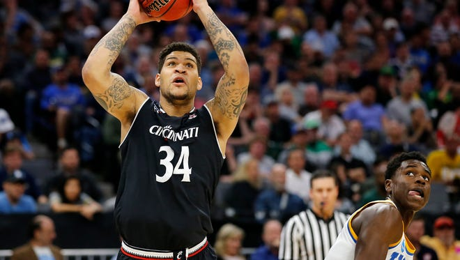 Cincinnati Bearcats guard Jarron Cumberland (34) goes up for a shot in the first half during the second-round game of the men's NCAA college basketball tournament between the Cincinnati Bearcats and the UCLA Bruins, Sunday, March 19, 2017, at the Golden 1 Center in Sacramento, California. UCLA won 79-67.