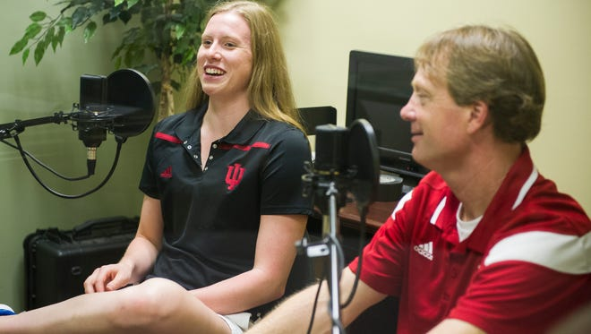 Olympic gold medalist Lilly King, (left) speaks about her time at the Rio games with Indiana University Head Swim Coach Ray Looze, at the Evansville Courier & Press,  Wednesday, Aug. 24, 2016.