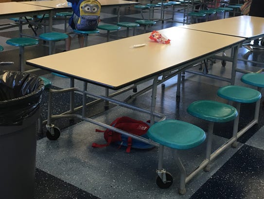 A lunch table at a WCSD elementary school