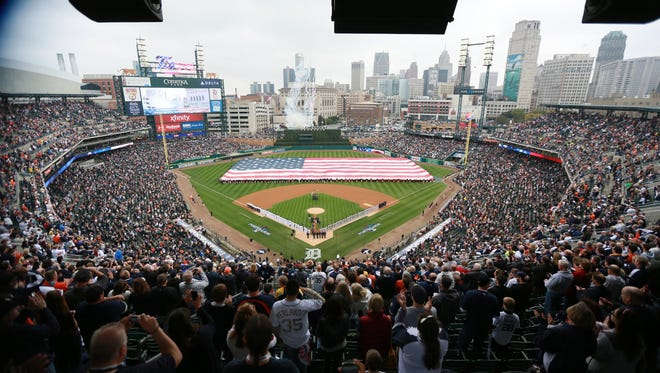 Opening Ceremony of Game 3 of the American League Championship Series at Comerica Park in Detroit on Tuesday, Oct. 15, 2013.