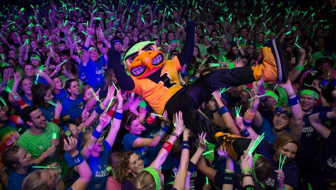 Herky surfs the crowd at the Dance Marathon's 22nd annual Main Event on Saturday, Feb. 6, 2016.