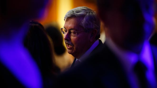 Gov. Terry Branstad mingles during a reception for Casey Blake who will receive the 2016 Robert D. Ray Pillar of Character Award on Friday, April 15, 2016, at the Prairie Meadows Event Center in Altoona. The Award is presented annually to an individual who consistently demonstrates good character as a public role model.