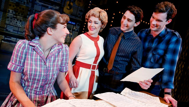 """Julia Knitel, left, as Carole King, Erika Olson as Cynthia Weil, Ben Fankhauser as  Barry Mann and Liam Tobin as Gerry Goffin, in a scene from """"Beautiful — The Carole King Musical."""""""