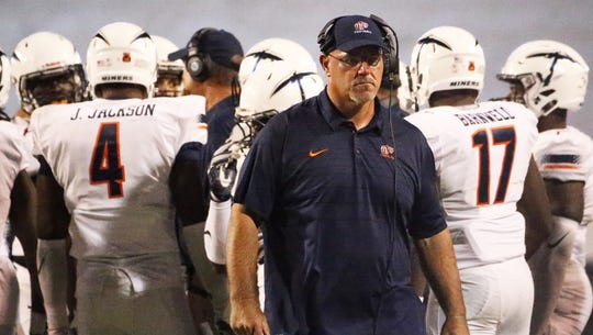 UTEP head coach Sean Kugler on the sidelines earlier