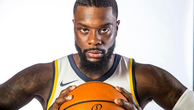 Indiana Pacers guard Lance Stephenson (1) poses for a portrait during media day at St. Vincent Center on Monday, Sept. 25, 2017.