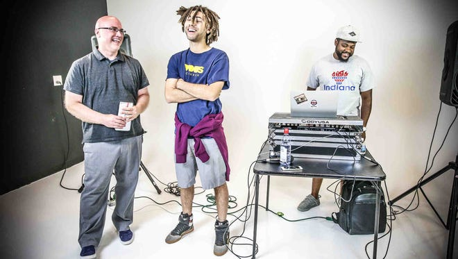 """IndyStar reporter David Lindquist, left, chats with rapper G Granite, center, and DJ Jay Diff during the June 28, 2017 episode of """"IndyStar Sessions."""""""