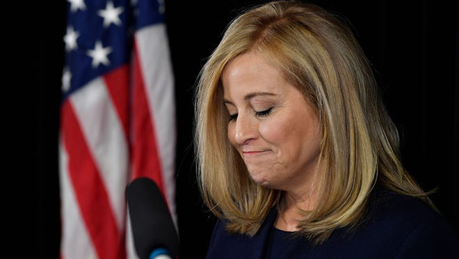 Nashville Mayor Megan Barry announces her resignation at a news conference in the mayor's conference room at Metro Courthouse on Tuesday, March 6, 2018, in Nashville. Earlier, Barry pleaded guilty to felony theft of property over $10,000 related to her affair with former police bodyguard Sgt. Rob Forrest.