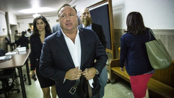 "In this Monday, April 17, 2017 photo, ""Infowars"" host"