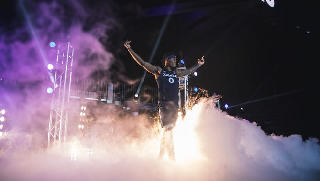 Xavier University junior forward Tyrique Jones takes the stage on Friday, Oct. 19, 2018 at Xavier's annual Musketeer Madness event.