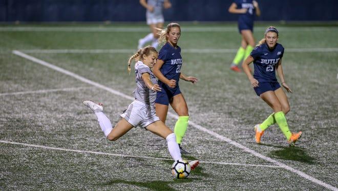 Xavier University women's soccer player Samantha Dewey shoots against Butler. Dewey was named Big East midfielder of the year on Saturday, Oct. 27, 2018.