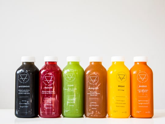 "Rooted Juicery + Kitchen offers cold-pressed juices and mylks, like ""Clean,"" which has kale, spinach, cucumber, celery and lemon."