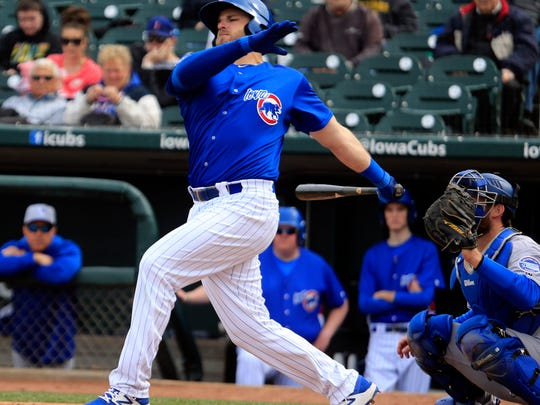 Right fielder Mark Zagunis bats as the Iowa Cubs open