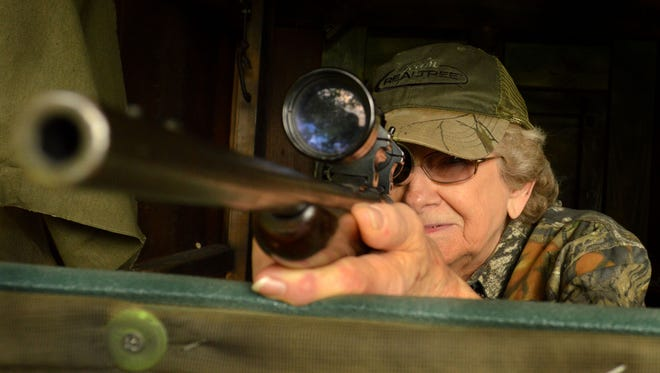 Violet Mears, 82, relies on a 60-year old sawed-off rifle to bring down deer.