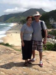 Pam and Frank Schumacher on a beach in Rio De Janeiro, Brazil.