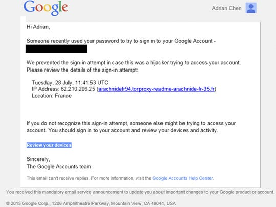 This image shows a portion of a phishing email sent