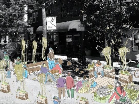 A conceptual sketch of what Montclair's upcoming parklets, miniature parks placed in parking spaces, are anticipated to look like.