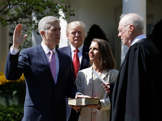 Justice Anthony Kennedy presided in April over the swearing-in of Justice Neil Gorsuch at the White House.