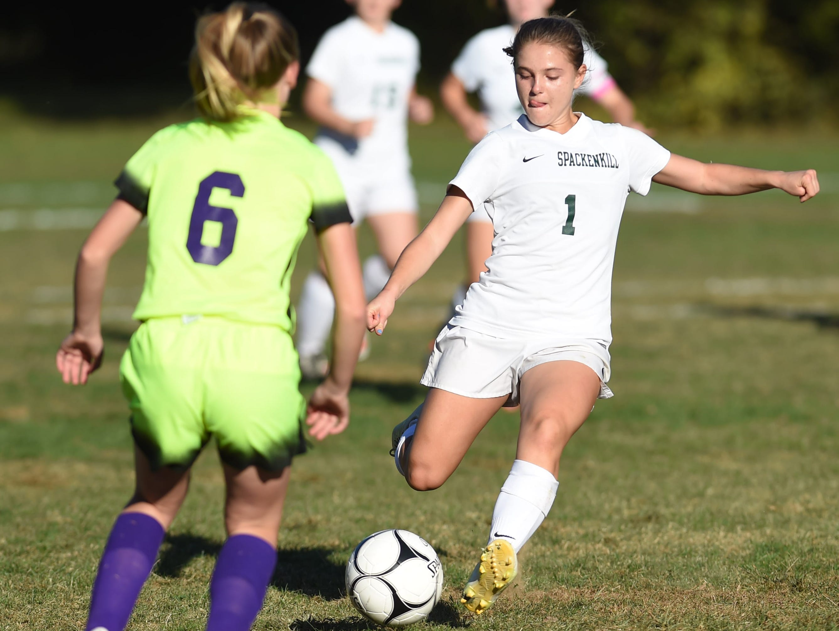 Spackenkill midfielder Maria Barefoot dribbles the ball against Rhinebeck on Oct. 6 at Spackenkill.