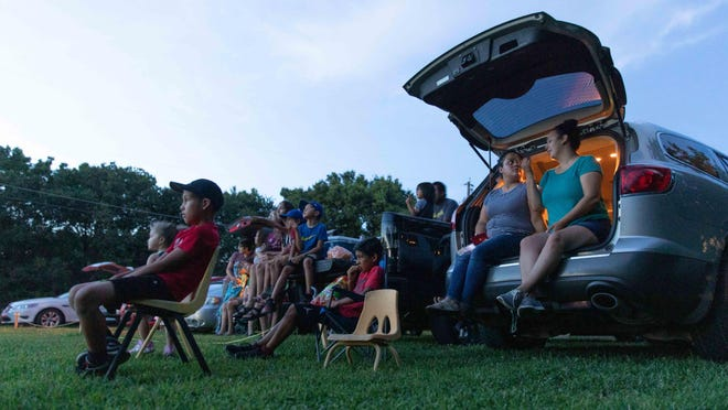 """The Stardusters Drive-In Movie Theater hosted guests Friday night for screenings of """"Sonic the Hedgehog"""" and """"Jumanji: The Next Level"""" during a trial run prior to Saturday's Grand Opening at the 809 SE 12th Street lot."""