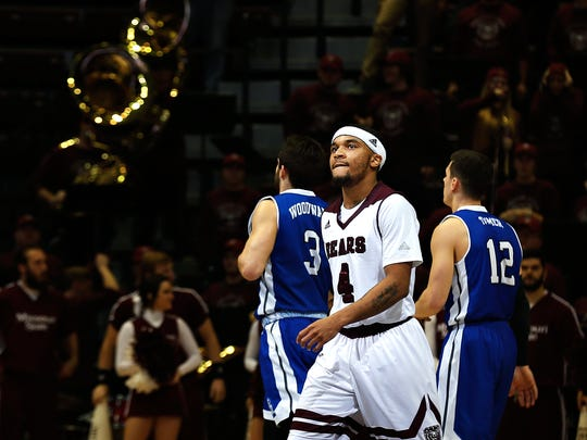 Missouri State Bears guard Dequon Miller (4) reacts during overtime action of the Missouri Valley Conference college basketball game between the Missouri State Bears and the Drake Bulldogs at JQH Arena in Springfield, Mo. on Jan. 24, 2017. The Drake Bulldogs won the game 72-71.