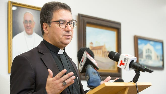 Bishop Oscar Cantu speaks to news outlets on Friday, July 13, 2018, at the Diocese of Las Cruces pastoral center regarding his impending departure to the Diocese of San José, California.