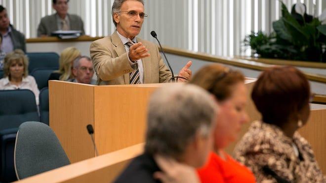School Board Chairman Frank Barbieri speaks at a county commission meeting in 2016.