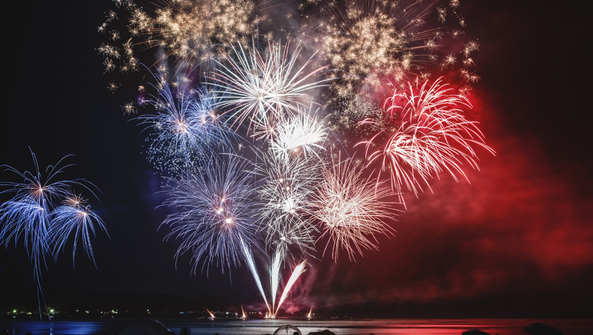 Enjoy fireworks on a clear Fourth of July night from
