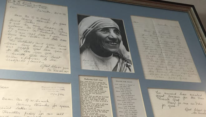 Gerry Frank treasures the mementos he has from Mother Teresa, including personal correspondence and an autographed photo.