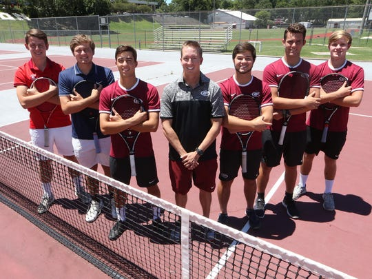 The 2017 All-Big Bend boys tennis first team. From left: Scott Epting (Leon), William Perrigan (Maclay), Player of the Year Josh Macri (Chiles), Coach of the Year Owen Long (Chiles), Matt Wilson (Chiles), Joey Kelley (Chiles), Trey Whittaker (Chiles). Not pictured: Evan McDonald (Lincoln), Achyuta Iyengar (Chiles).