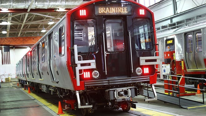 One of the new Red Line trains at the MBTA's South Boston train yard on Thursday. The cars should go into service next spring. Greg Derr/The Patriot Ledger
