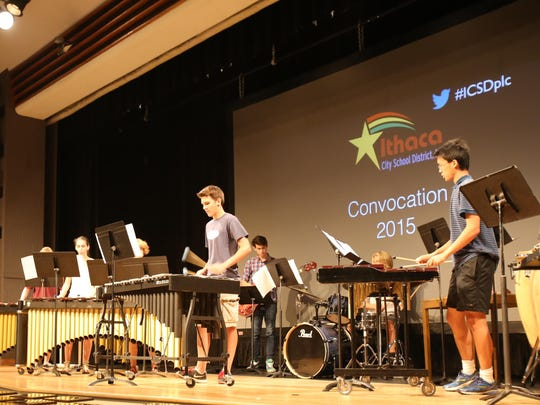 Ithaca High School students begin a convocation with a musical performance Tuesday morning.