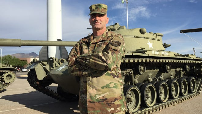 Command Sgt. Maj. Bobby J. Breeden is the new senior enlisted soldier for Garrison Command. Here is stands in front of the static display of equipment outside the Fort Bliss museum complex.
