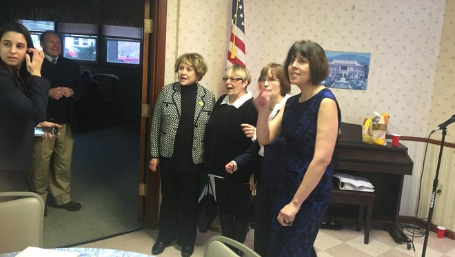 Congresswoman Louise Slaughter (far left) with new Sweden Town Councilwoman Lori Skoog, Brockport Village Board member Annie Crane and Sweden Town Councilwoman Mary Rich during a swearing-in ceremony inside The Center in Brockport.