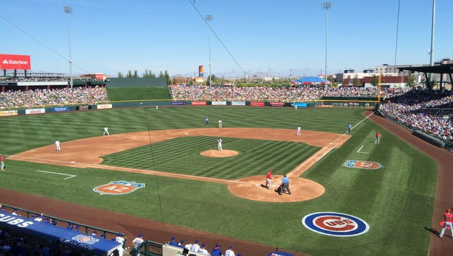 A record 15,446 fans filled Sloan Park in Mesa on March 4, 2016 for the 2016 home opener against the Los Angeles Angels.