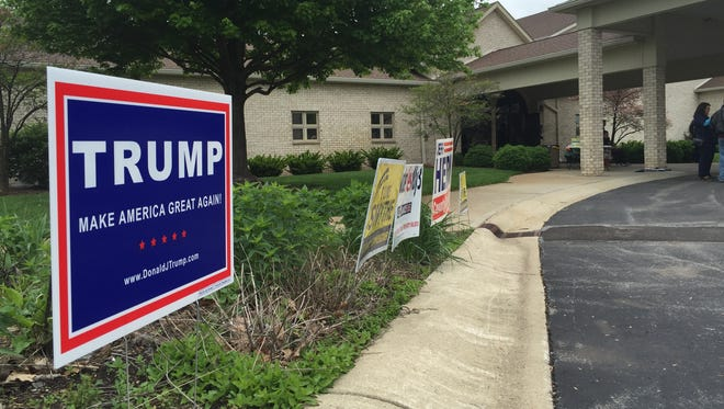 A Trump sign was the only presidential campaign sign outside Holy Spirit Perish in the Geist district of Fishers.