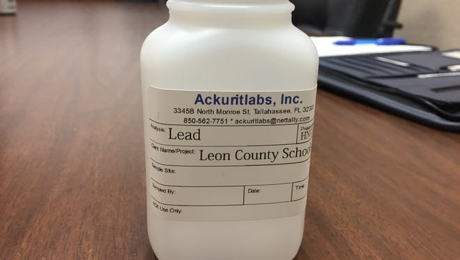 This plastic jar is what Leon County Schools use to collect water samples from sinks and drinking fountains to be tested for lead content.