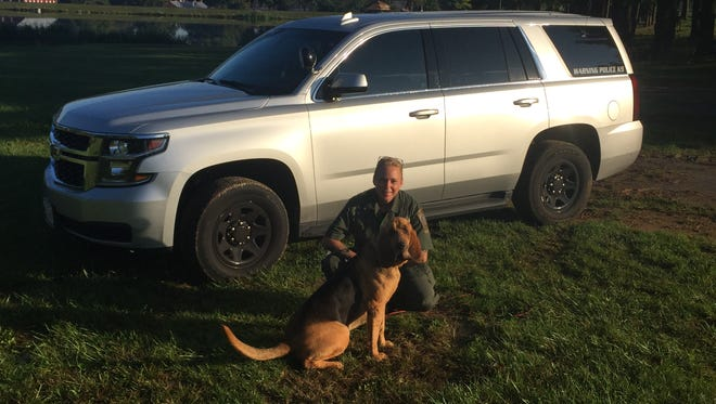 Master Deputy Kathleen Yox and K9 Pinky of the Carroll County Sheriff's Department.